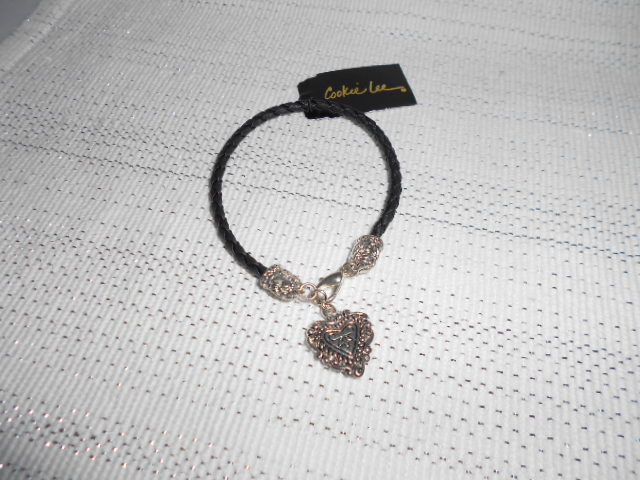 Cookie Lee Bracelet with Silver & Black Charm - Item #99371 - Great Gift Idea!