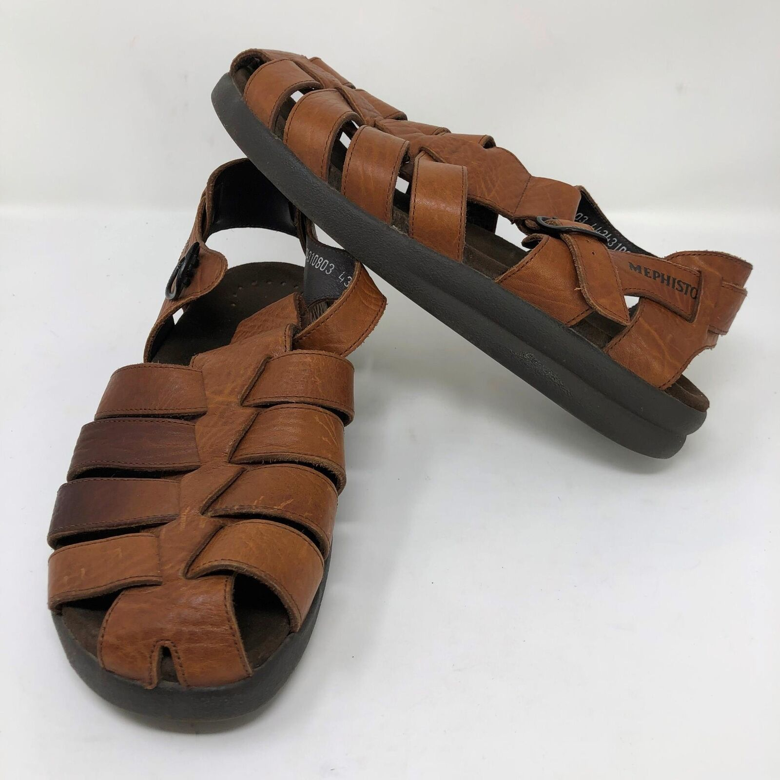 Mephisto Sam Mens US 9 Euro 43 Brown Textured Leather Fisherman Roman Sandals