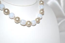 Vintage 1940s Moonstone and Imitation Cream Color Pearls Choker - $22.00