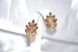 Vintage Earrings Wire Over Accent Champagne Topaz Rhinestones - $24.00
