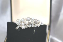 Vintage 1940s Era Layered Leaf of Clear Rhinestones Silver Tone Brooch - $18.00