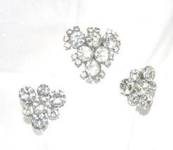 Vintage 1940s Era Clear Headlight Rhinestone Brooch Earrings Demi - $29.00