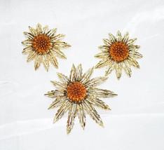 "Vintage Sarah Coventry ""Starburst"" 1960s Brooch Matching Earrings - $28.00"