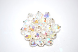 Vintage Brooch Clear Faceted Aurora Borealis Crystal Cluster - $11.00