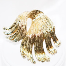 Vintage Monet Signed Brooch Abstract Brushed Metal Gold Tone - $10.00