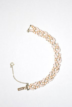 Vintage Signed Coro Bracelet Pink Enameled Leaf with Tiny Lucite Beads - $28.00