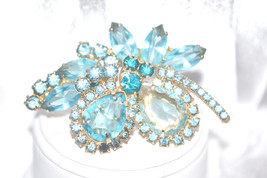 Vintage Multi Layered Pale Blue Topaz with Aqua Rhinestones Brooch - $38.00
