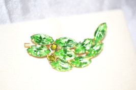 Vintage Brooch with Bright Green Rhinestones Leaf in Gold Tone Setting - $38.00