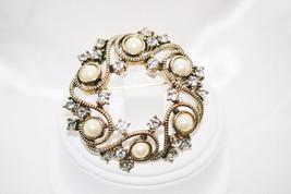 Vintage Monet Imitation Pearls with Clear Rhinestones Brooch - $8.00