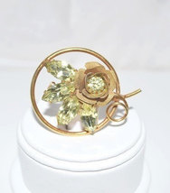 Vintage Brooch Jonquil Rhinestone Leaves In Open Rose Gold Tone - $10.00