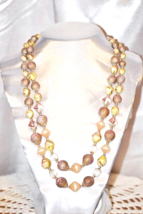 Vintage 1950s Era Peach Colors Double Strands Art Beaded Necklace - $15.00