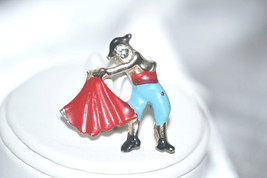 Vintage Enamel Bull Fighter Toreador with Bright Red Cape Pin - $6.00