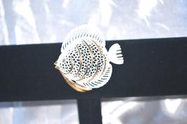 Vintage Signed Monet White Enamel on Gold Tone Open Worked Fish - $15.00