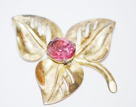 Vintage Signed Coro Gold Plated over Sterling with Pink Rhinestone Brooch image 2