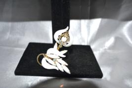 Vintage Ribbed Enamel White Milk Glass Leaves Rhinestone Brooch - $28.00