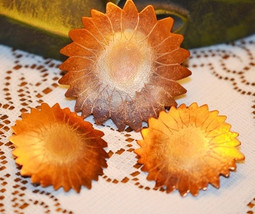 Vintage Handmade Signed Copper Sunflower Brooch and Earrings - $28.00