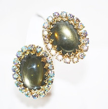 Vintage Juliana DeLizza Elster Olive AB Rhinestone Clip On Earrings - $32.00