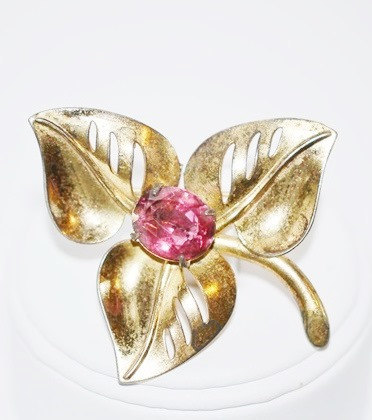 Vintage Signed Coro Gold Plated over Sterling with Pink Rhinestone Brooch