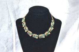 Vintage Signed Coro Green Aurora Borealis Rhinestone Choker Style - $24.00
