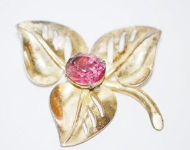 Vintage Signed Coro Gold Plated over Sterling with Pink Rhinestone Brooch image 5
