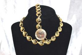 Vintage Signed Coro Goldtone Choker Bracelet with Engravable Pendant - $28.00