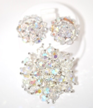 Vintage Brooch Earrings Matching Aurora Borealis Faceted Cyrstal Beaded Set - $32.00
