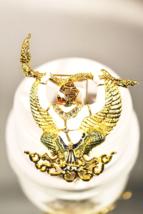 Vintage Egyptian Revival Bird with Snakes Gods or Demons Enamel Brooch - $11.00
