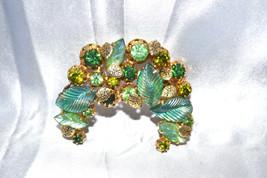 Vintage Signed Kramer Made in Austria Rhinestones and Art Glass Leaves B... - $28.00