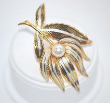 Vintage Signed Spain Brooch Damascene Flower with Imitation Pearl - $14.00