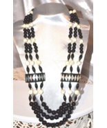 Vintage Mother of Pearl with Black Glass Beaded Triple Strand Necklace - $28.00