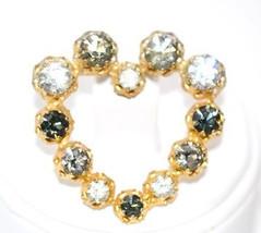 Vintage 1940s Era Signed Austria Three Color Rhinestone Heart Brooch - $14.00