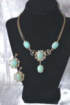 Vintage Coro FauxTurquoise Matrix in Silver Tone Necklace Earring Demi - $32.00