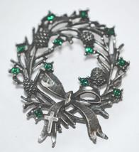 Vintage Wreath Hat Pin With Rhinestones Cross on Ribbon - $18.00