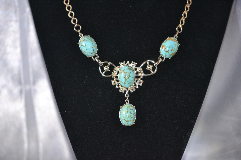Vintage Coro FauxTurquoise Matrix in Silver Tone Necklace Earring Demi