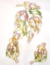 Vintage 1970s Era Brooch and Earrings Enamel Tulip Set - $28.00