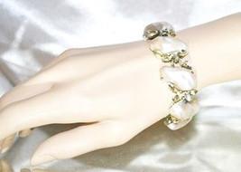Signed BSK Vintage Dragons Tooth Imitation Mabe Pearls Bracelet - $28.00