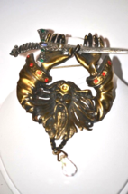 Vintage Signed JJ Brooch Wizard with Sword Rhinestone Accented - $11.00