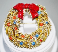 Vintage Signed ART Enamel with Rhinestones Holiday Wreath Brooch - $12.00