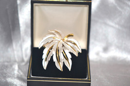 Vintage Signed JJ Brooch Layered Silver Textured Leaf with Gold Tone Stem - $10.00