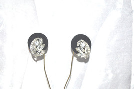 Vintage Earrings of Clear Rhinestones with Ribbon Accent in Rhodium Plat... - $28.00