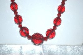 Vintage Art Deco Era Necklace of Chain Strung Faceted Deep Red Crystasls - $49.00