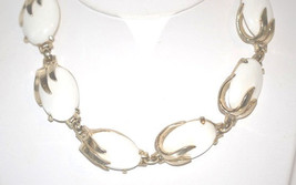Signed Coro Vintage White Thermoset Choker Necklace in Gold Tone - $12.00