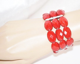 Vintage 1940s Era Dark Red Faceted Beaded 3 Row Stretch Bracelet - $12.00