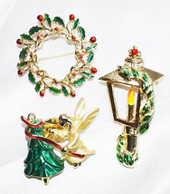 Vintage Christmas Holiday Jewelry Angel, Lamp and Wreath Lot - $18.00