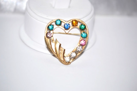 Vintage Gold Filled Signed Heart Multi Color Rhinestone Brooch - $12.00