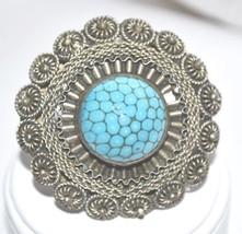 Vintage Signed Natural Blue Turquoise Matrix in Silver  Brooch - $22.00