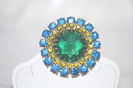 Vintage Emerald Green with Olive and Blue Rhinestones Brooch - $28.00