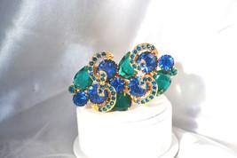 Emerald Green Deep Blue Rhinestone Vintage Brooch with Ribbon Accents - $29.00