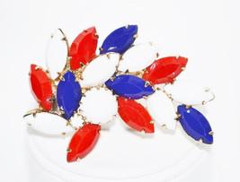 Vintage Juliana DeLizza Elster Patriotic Red White Blue Milk Glass Brooch - $32.00