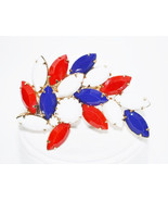 Vintage Juliana DeLizza Elster Patriotic Red White Blue Milk Glass Brooch - $32.00